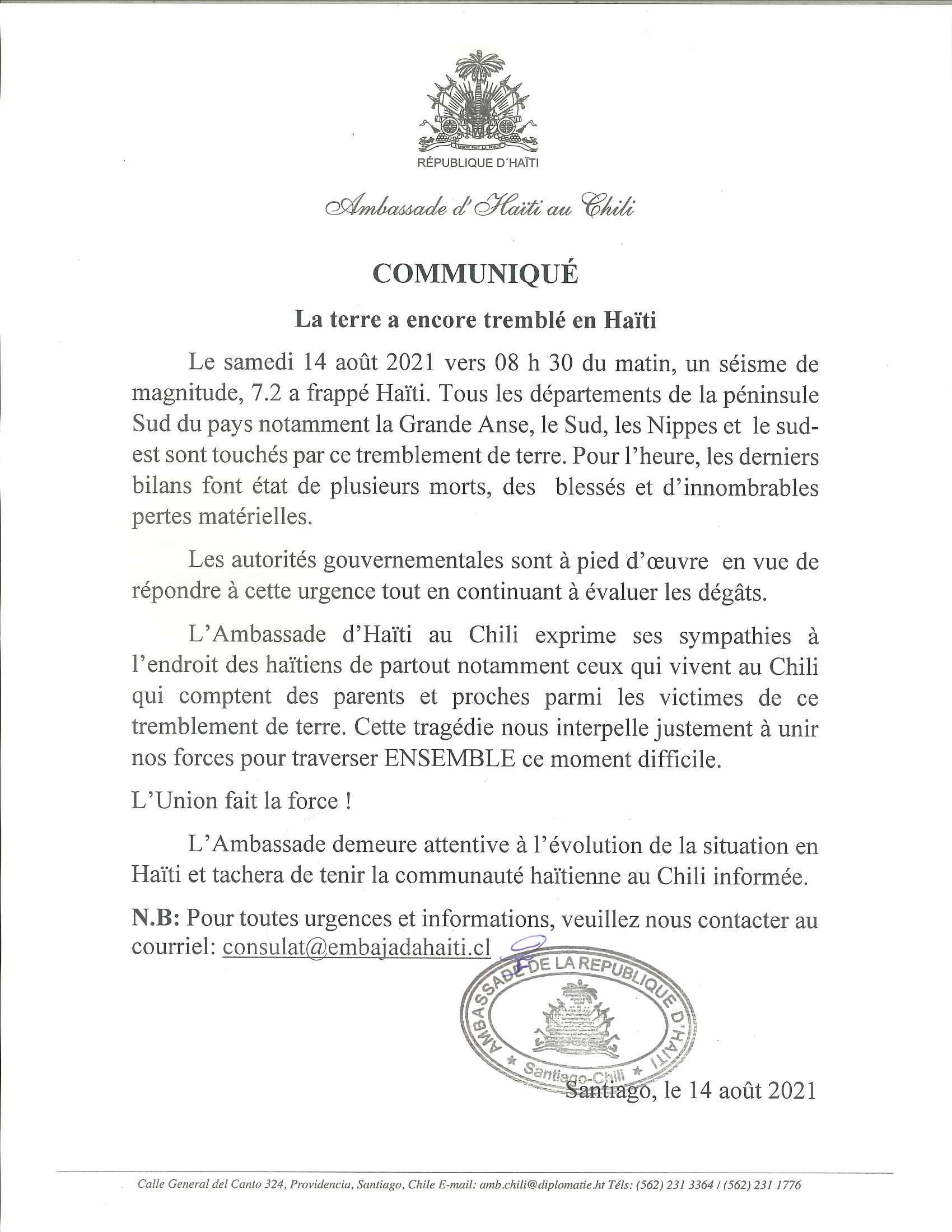 Versión francesa-Communiqué